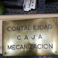 Carteles: ANTIGUA CHAPA ESMALTADA. CONTABILIDAD CAJA MECANIZACIÓN.. Lote 148089017