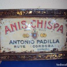 Carteles: (PUB-190264)CHAPA LITOGRAFIADA ANIS CHISPA - ANTONIO PADILLA - RUTE (CORDOBA). Lote 150649914