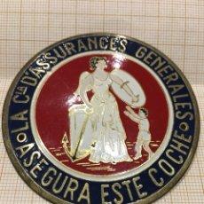 Carteles: PLACA SEGURO PARA COCHE CÍA D' ASSURANCES GENERALES. Lote 151432509