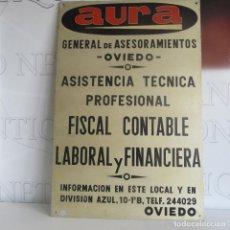Carteles: ANTIGUA CHAPA METAL PUBLICIDAD PUBLICITARIA SEGUROS DIVISIÓN AZUL OVIEDO. Lote 153664774
