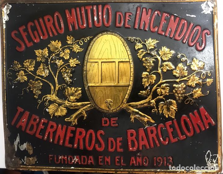 ANTIGUA CHAPA PLACA CARTEL SEGUROS DE INCENDIOS TABERNEROS BARCELONA - ANDREIS (Coleccionismo - Carteles y Chapas Esmaltadas y Litografiadas)