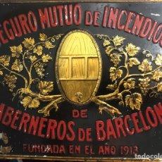 Carteles: ANTIGUA CHAPA PLACA CARTEL SEGUROS DE INCENDIOS TABERNEROS BARCELONA - ANDREIS. Lote 154271873