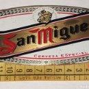 Carteles: ANTIGUO CARTEL-CHAPA-PUBLICITARIA CERVEZA SAN MIGUEL EN BRONCE-LATON. Lote 154564220