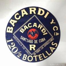 Carteles: CARTEL CHAPA BACARDI Y Cª. SANTIAGO DE CUBA. 120/2 BOTELLAS. 41 CM DIAMETRO. Lote 155566822