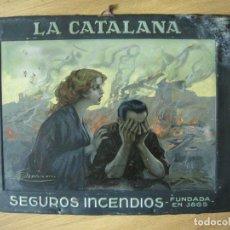 Carteles: LA CATALANA SEGUROS INCENDIOS-CHAPA ANTIGUA G.DE ANDREIS-MIDE 35 X 45 CM-VER FOTOS. Lote 155696062