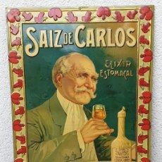Carteles: ANTIGUO CARTEL (LETRERO) PUBLICITARIO SAIZ DE CARLOS DE G.DE ANDREIS DE HOJALATA (LATA) RELIEVE. Lote 155805478