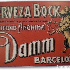 Carteles: CHAPA METÁLICA CERVEZA BOCK DAMM - 20 X 30 CM. NUEVA.. Lote 155820878