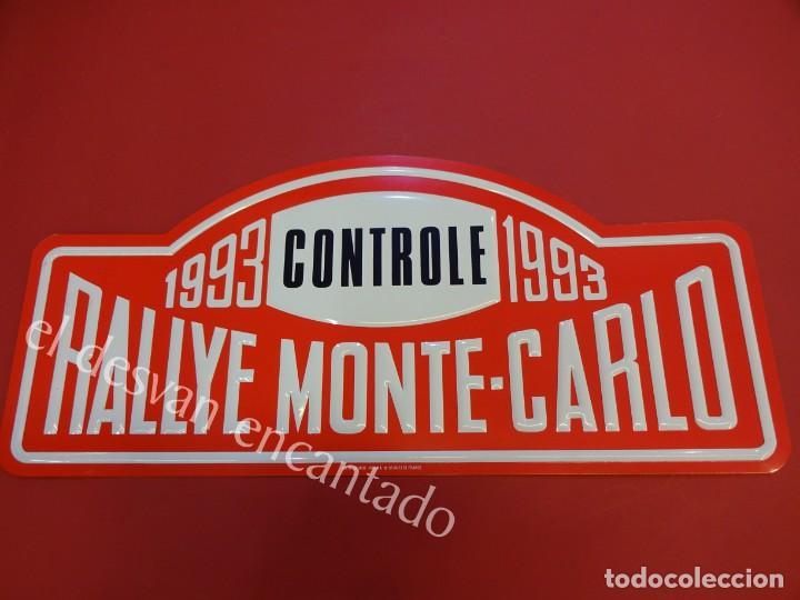 CHAPA ORIGINAL RALLYE MONTE-CARLO 1993. 43 X 20 CTMS. (Coleccionismo - Carteles y Chapas Esmaltadas y Litografiadas)