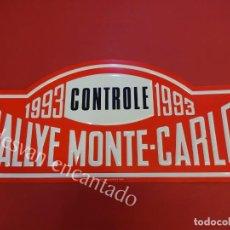 Carteles: CHAPA ORIGINAL RALLYE MONTE-CARLO 1993. 43 X 20 CTMS.. Lote 156169506