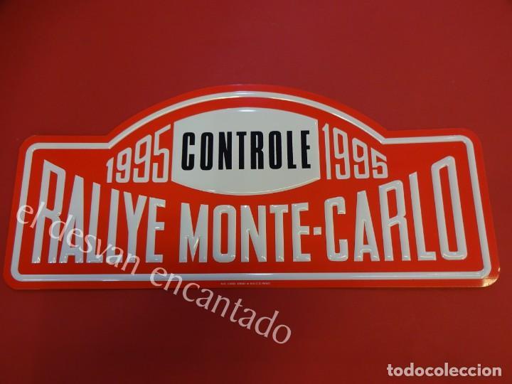 CHAPA ORIGINAL RALLYE MONTE-CARLO 1995. 43 X 20 CTMS. (Coleccionismo - Carteles y Chapas Esmaltadas y Litografiadas)