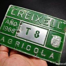 Carteles - CHAPA PLACA MATRICULA CARRO-- AGRICOLA 1966--CREIXELL TARRAGONA--15 X 10 CM - 156759682
