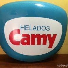 Carteles: CARTEL LETRERO HELADOS CAMY. AÑOS 80. PVC. 49X42 CMS. Lote 158018762