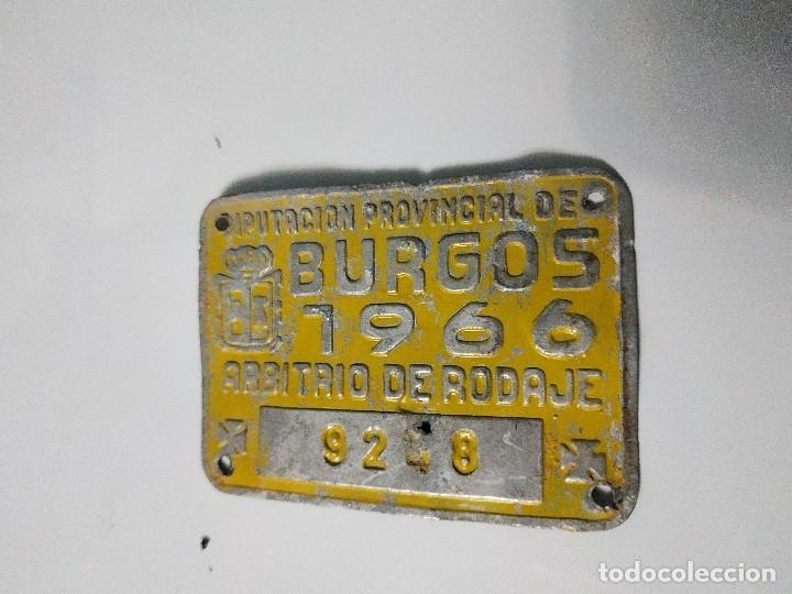 ARBITRIO DE RODAJE DE CARRO, BURGOS 1966 (Coleccionismo - Carteles y Chapas Esmaltadas y Litografiadas)