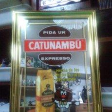 Carteles: PUBLICIDAD CATUNAMBÚ SOBRE CUADRO DORADO Y CRISTAL ESPEJO MEDIDAS 50X36 CM.. Lote 159593546
