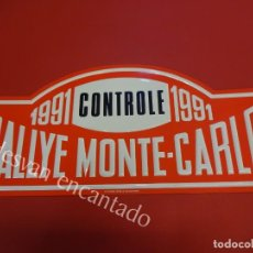 Carteles: CHAPA ORIGINAL RALLYE MONTE-CARLO 1991. 43 X 19,5 CTMS.. Lote 161339086