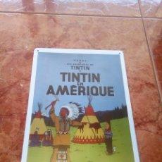 Carteles: CHAPA METÁLICA DE TINTIN. Lote 161908534