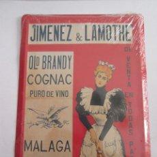Carteles: JIMENEZ & LAMOTHE - OLD BRANDY COGNAC - MALAGA - CHAPA METALICA - 17,5X12,5 CM - PRECINTADA. Lote 162099030