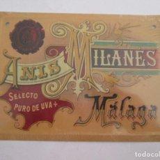 Carteles: ANIS ILANES - MALAGA - CHAPA METALICA - 17,5X12,5 CM - PRECINTADA. Lote 162099246