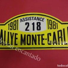 Carteles: CHAPA ORIGINAL RALLYE MONTE-CARLO 1981. 45 X 20,5 CTMS.. Lote 162364270
