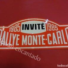 Carteles: CHAPA ORIGINAL RALLYE MONTE-CARLO 1985. 45 X 20,5 CTMS.. Lote 162364542