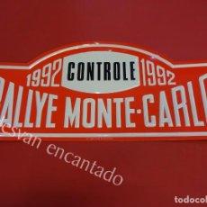 Carteles: CHAPA ORIGINAL RALLYE MONTE-CARLO 1992. 43 X 20 CTMS.. Lote 162365126