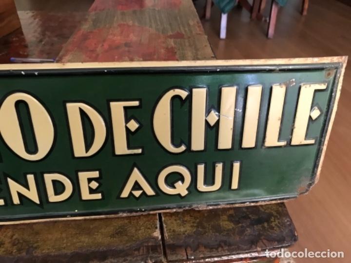 Carteles: Chapa Nitrato de Chile. Se vende Aquí (69,5X16,5 cms). Años 1930s. Muy rara. - Foto 5 - 111528375