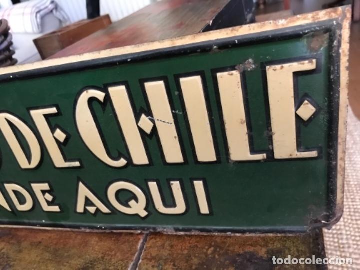 Carteles: Chapa Nitrato de Chile. Se vende Aquí (69,5X16,5 cms). Años 1930s. Muy rara. - Foto 11 - 111528375