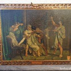 Carteles: CARTEL (LETRERO) PUBLICITARIO LA MUERTE DE LUCRECIA (ROSALES) HOJALATA (LATA) HIJOS G BELTRAN 1932. Lote 165985106