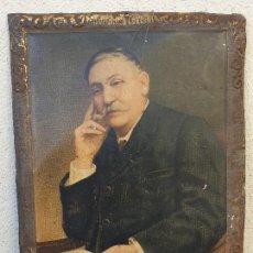 Carteles: ANTIGUO CARTEL (LETRERO) PUBLICITARIO HOMBRES CELEBRES PEREZ GALDOS DEL DR. ANDREU HOJALATA (LATA). Lote 165991482