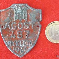 Carteles: CHAPA , MATRICULA , RODAJE BICICLETA AGOST 1960. Lote 166952976