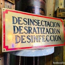 Carteles: PLACA DE LATÓN DESINFECCIÓN CARTEL DECORATIVO CHAPA DE METAL LETRERO ANTIGUO. Lote 163606968