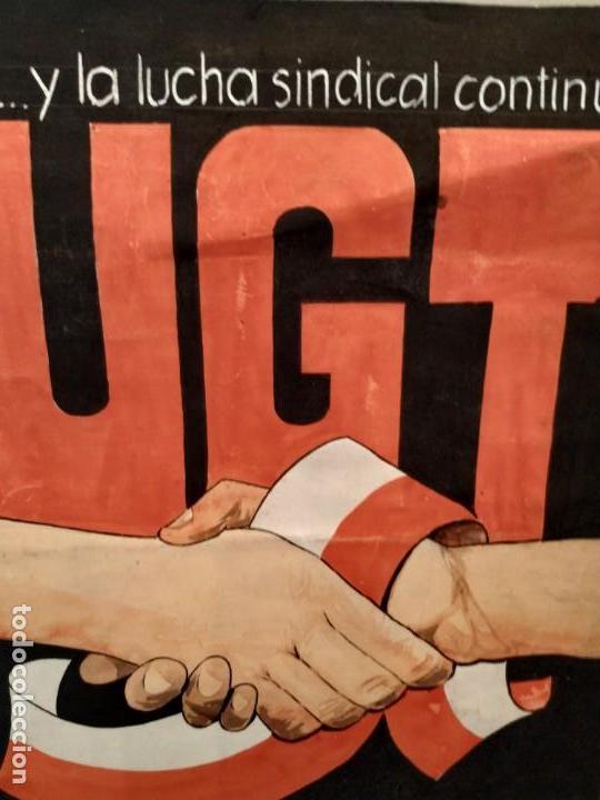 Carteles: UGT II CONGRESO REGIONAL CANTABRIA 1978 - CARTEL ORIGINAL PINTADO A MANO - Foto 2 - 167908276