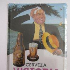 Carteles: CERVEZA VICTORIA - MALAGA - CHAPA METALICA COLECCION ANUNCIOS DE TU VIDA 17,5X12,5 CM PRECINTADA. Lote 178438025