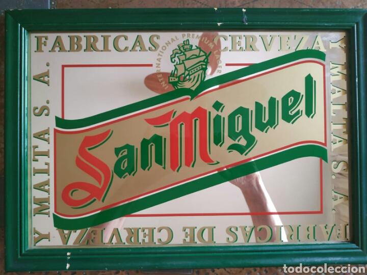 ANTIGUO ESPEJO CERVEZA SAN MIGUEL (Coleccionismo - Carteles y Chapas Esmaltadas y Litografiadas)
