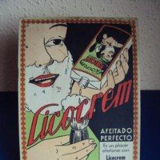 Carteles: (PUB-190670)ANTIGUO CARTEL DE PUBLICIDAD DE CARTON, LICOCREM, BARCELONA. Lote 171230089