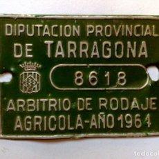 Carteles: CHAPA MATRICULA DE RODAJE AGRICOLA,AÑO 1961 DE TARRAGONA (9CM. X 6,5CM.). Lote 171319777