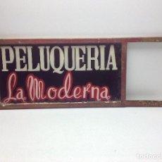 Carteles: CARTEL DE CRISTAL - BANDEROLA - PELUQUERIA LA MODERNA -DOBLE CARA . Lote 171439495