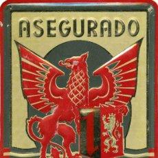 Carteles: CHAPA DE SEGUROS MANNHEIM ASEGURADO. Lote 172138088