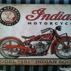Carteles: CARTEL DE CHAPA MOTO INDIAN. Lote 172370137