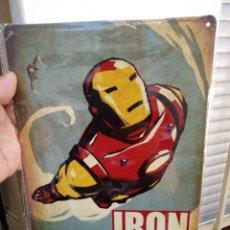 Carteles: CHAPA PLACA SUPER HEROES IRON MAN 20 X 30 METAL CMTS DECORATIVA REPRODUCION. Lote 173090069
