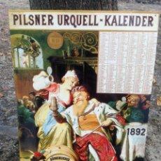 Affissi: CHAPA CARTEL PUBLICIDAD CERVEZA PILSNER URQUELL KALENDER 1892 (REPRODUCCIÓN), 59X38CM.. Lote 173470528