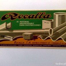 Carteles: CARTEL ROCALLA,MATERIAL INDISPENSABLE PARA CONSTRUCCIONES (21CM. X 10CM.). Lote 174304332