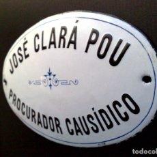 Carteles: PLACA ANTIGUA DE PORCELANA ESMALTADA,DE PROCURADOR CAUSIDICO,EN RELIEVE (25CM. X 14CM.). Lote 175182768