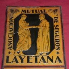 Carteles: (M) CHAPA ANTIGUA - ASOCIACIÓN MUTUAL DE SEGUROS LAYETANA, BARCELONA, GINES LLAMAS, BADALONA. Lote 175610259
