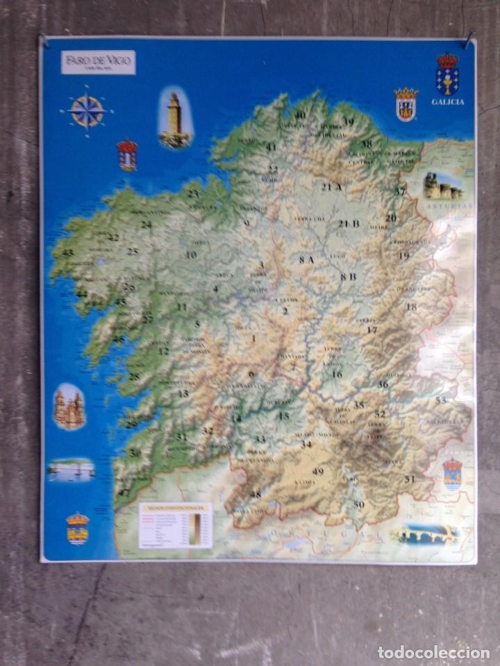 Mapa De Galicia En Relieve 57 X 47 Cm Faro De Buy Old Posters