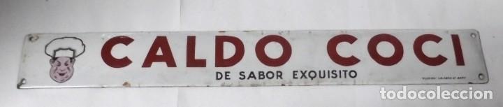 CHAPA PUBLICITARIA. CALDO COCI. PLURIMA. VER FOTOS. MEDIDAS : 50 X 7 CM APROX. (Coleccionismo - Carteles y Chapas Esmaltadas y Litografiadas)