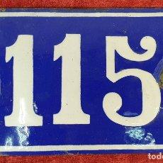 Carteles: PLACA NUMÉRICA DE METAL ESMALTADO. Nº 115. SIGLO XX. . Lote 176882943