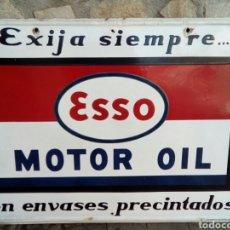 Carteles: CHAPA ESMALTE DE PUBLICIDAD ESSO MOTOR OIL REALIZADO POR ESMALTERIA PLURIMA BARCELONA. Lote 177053892
