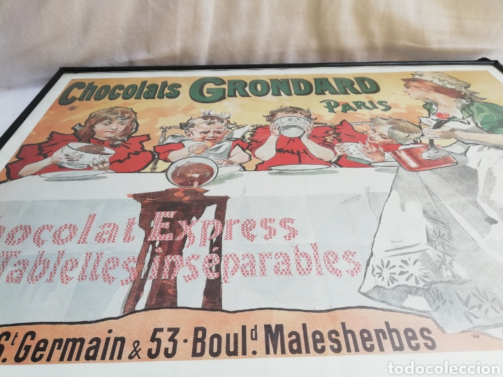 Carteles: GRAN CUADRO LAMINA CHOCOLATES GRONDARD. PARIS. CARTEL PUBLICITARIO.CON CRISTAL. UNICO EN TC. - Foto 3 - 178778983