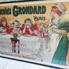 Carteles: GRAN CUADRO LAMINA CHOCOLATES GRONDARD. PARIS. CARTEL PUBLICITARIO.CON CRISTAL. UNICO EN TC.. Lote 178778983